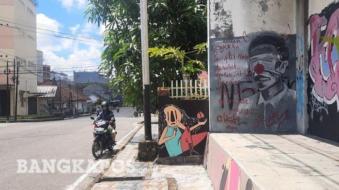 Heboh, Mural Mirip Jokowi di Jalan Yang Zubaidah Pangkalpinang, Tarik Perhatian Pengguna Jalan