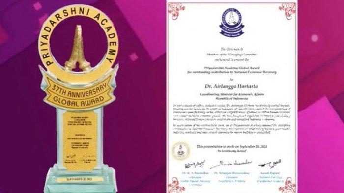 Menteri Koordinator Bidang Perekonomian Airlangga Hartarto dianugerahi Priyadarshni Academy Global Award for Outstanding Contribution to National Economic Recovery, pada pelaksanaan the 37th Anniversary Global Awards Function secara virtual yang berlangsung pada hari Senin (20/09).