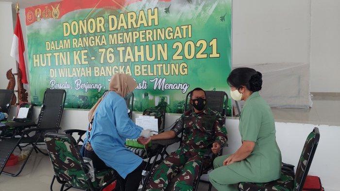 Bantu Kebutuhan Darah di Tengah Pandemi, Korem 045/Gaya Gelar Donor Darah