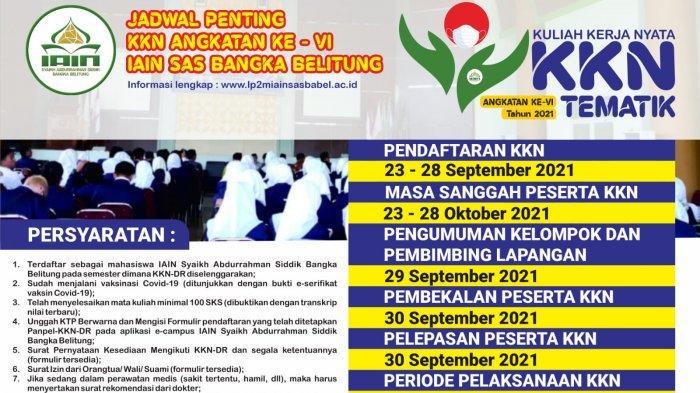 LP2M IAIN SAS Bangka Belitung Pendaftaran KKN-DR tematik Sudah dibuka, Berikut Persyaratannya