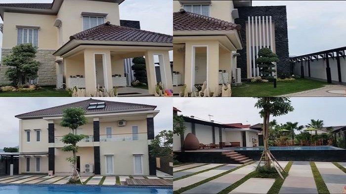 Penampakan rumah Bu Dendy bagian depan (atas) dan bagian belakang dengan kolam renang (bawah)