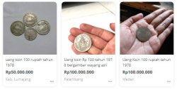 Beberapa Pelapak di  Situs Jual Beli Online yang Menjual Uang Rp 100 dengan harga fantastis