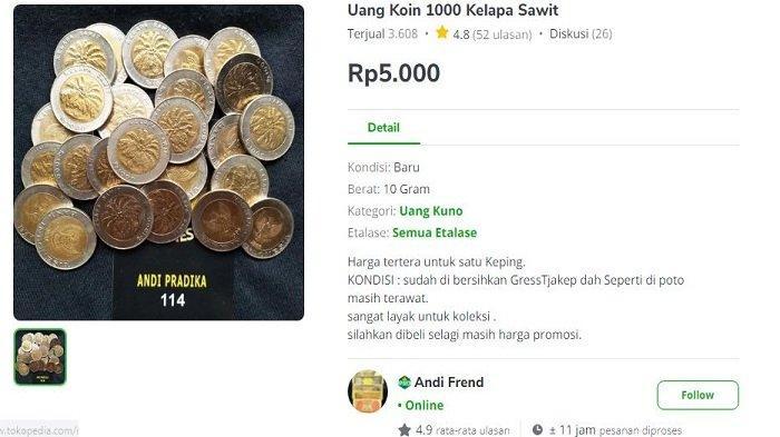 Heboh Uang Koin Rp1 Ribu Kelapa Sawit Dijual Rp50 Juta, Pelapak Ini Malah Lepas Rp3 Ribu Per Keping