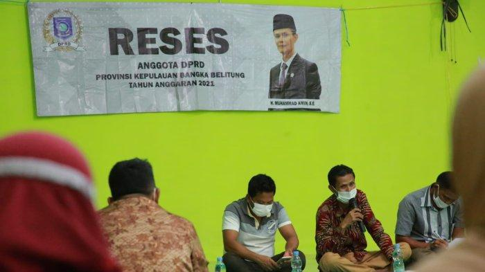 Muhammad Amin melakukan reses tahun sidang III masa sidang I di desa Ranggung kecamatan Payung, Kabupaten Bangka Selatan, Senin (12/10/21)