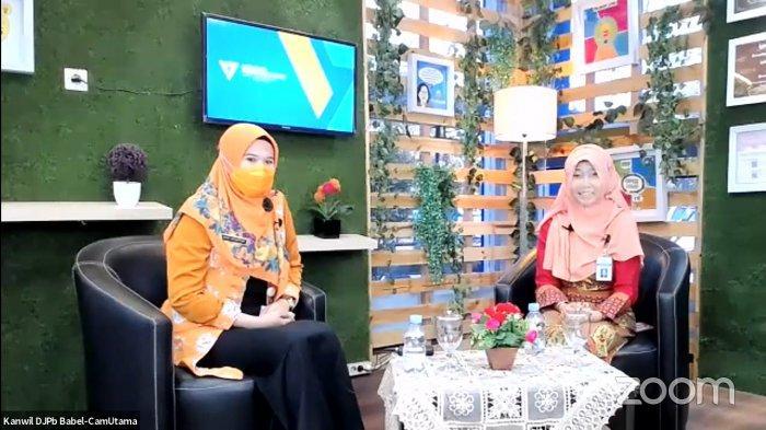 Foto screenshot video live streaming Talkshow Perbendaharaan Sehat Gerakan 5M dan Vaksinasi Covid-19 yang diselenggarakan oleh DJPb Bangka Belitung pada Jumat (26/2/2021)