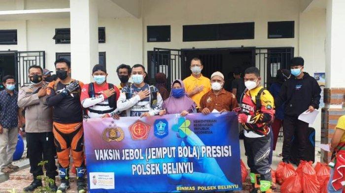 Kapolres Bangka Pakai Motor Trail Terabas Desa Gunung Pelawan Tinjau Vaksinasi Jebol