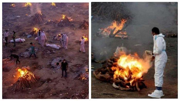 Kondisi di India setelah banyaknya pasien Covid-19 meninggal dunia. Dokter dan pihak krematorium kewalahan. Jenazah pasien dibakar secara massal.