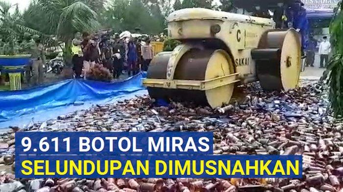 9.611 Botol Miras Selundupan Senilai 7 Miliar Dimusnahkan (VIDEO)