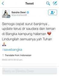 Sandra Dewi Ikut Berdoa Untuk Bangka