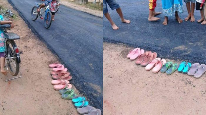 Saking Senang Jalan Daerahnya Diaspal, Anak-anak Sampai Lepas Sandal