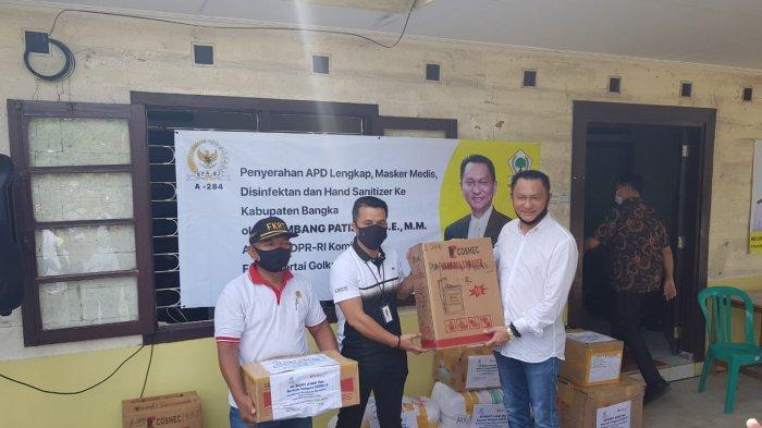 Gelar Reses,Bambang Patijaya Salurkan Sembako, APD bersama BUMN dan Lanal Babel