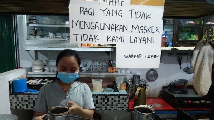 TAK Pakai Masker Tak Dilayani di Warung Kopi Cukin Toboali
