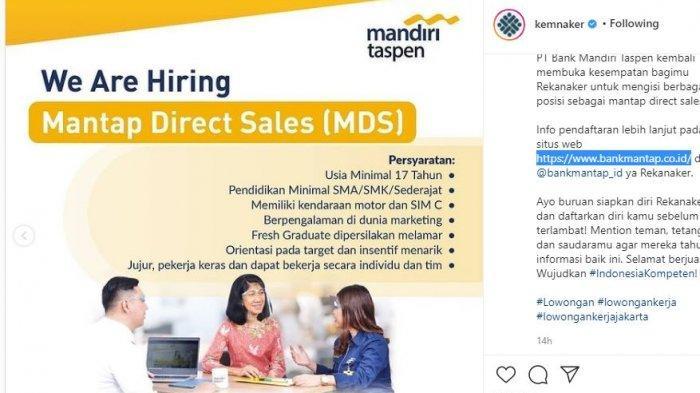 Lowongan Kerja Terbaru, PT Bank Mandiri Taspen Buka Lowongan Direct Sales untuk Seluruh Indonesia