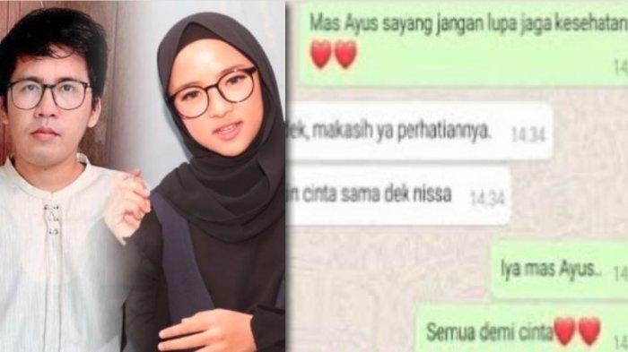 Beredar chat mesra Ayus dan Nissa Sabyan yang dijadikan bukti oleh Ririe Fairus. (IST via TribunJambi.com)