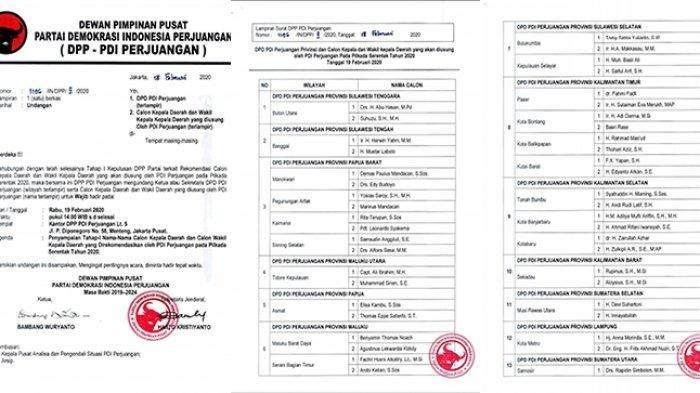 Beredar Daftar Nama Calon Kepala Daerah yang Diusung PDIP di Berbagai Daerah di Indonesia