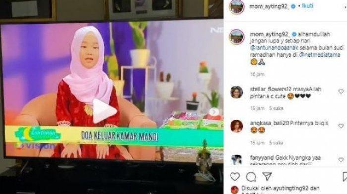 Postingan Umi Kalsum yang memperlihatkan aksi Bilqis jadi presenter