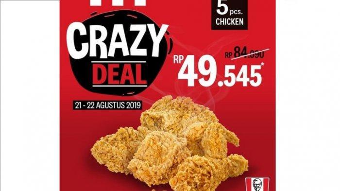 Promo KFC Crazy Deal Cuma Rp 49.545 untuk Lima Potong Ayam, Ini Hari Terakhir, Simak Syaratnya