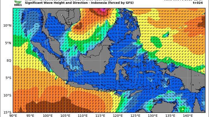 Perairan yang Berpotensi Terjadi Gelombang Tinggi 4-6 Meter Hari Ini