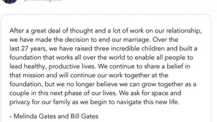 Cuitan Melinda Gates di Twitter tentang perceraiannya
