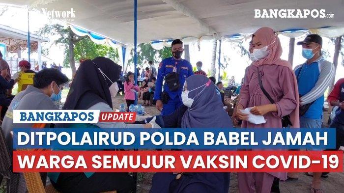 Percepat Vaksinasi Covid-19, Ditpolairud Polda Babel Sambangi Warga Pulau Semujur