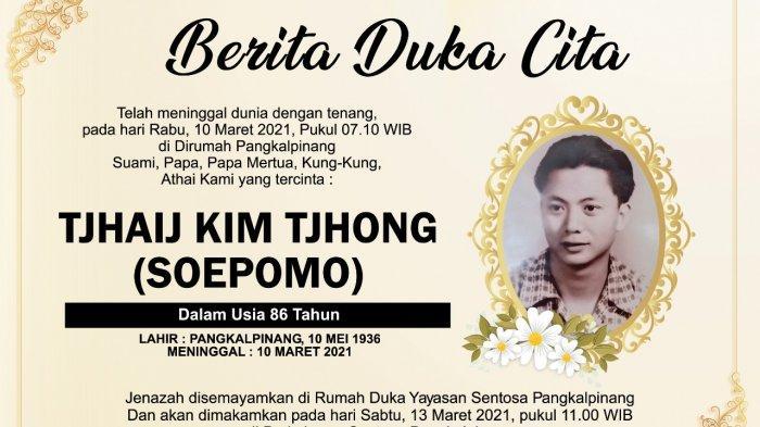 Berita Duka Cita Tjhaij Kim Tjhong (Soepomo)