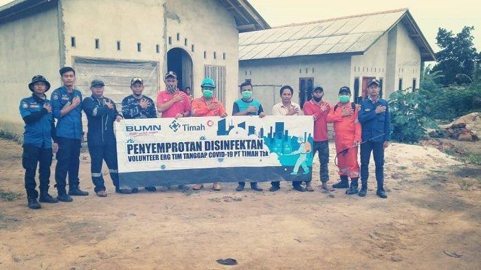 Cegah Covid-19, ERG PT Timah Gencar Semprot Disinfektan di Daerah Wilayah Operasi