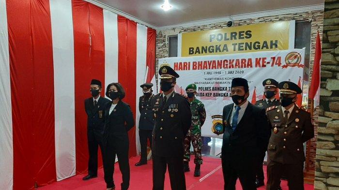Upacara Virtual HUT ke-74 Bhayangkara di Mapolres Bangka Tengah Berlangsung Khidmat