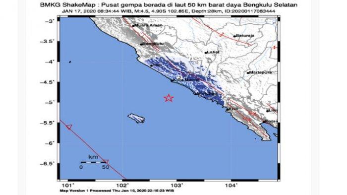 Hari Ini Jumat 17 Januari 2020 Gempa Bumi Guncang Bengkulu Selatan Berkekuatan M 4,5 SR, Doanya