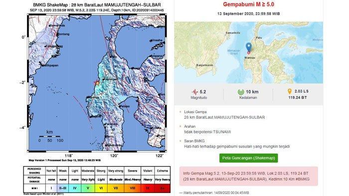 Info Gempa Hari Ini: Wilayah Mamuju Tengah Diguncang Gempa  5.2 SR, Tidak Berpotensi Tsunami