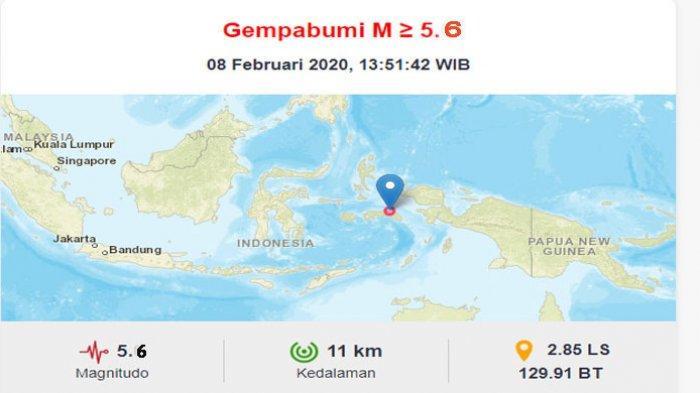 Gempa Bumi Hari Ini di Seram Bagian Timur Maluku Berkekuatan 5,6 SR