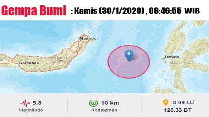 Gempa Bumi 5,8 SR Guncang Ternate Pagi Ini