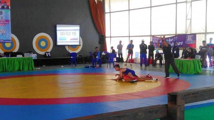 Cabor Pertama Ditandingkan dalam Porprov  V,  Atlet Gulat Bangka Tengah Sumbang Medali Emas