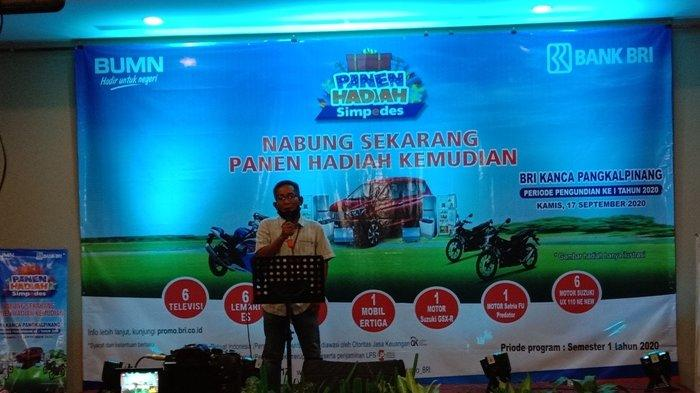 Handi Agus selaku Asisten Manager Pemasaran Mikro BRI Pangkalpinag saat menyampaikan kata sambutannya, Kamis (17/9/2020) Sumber foto Widodo