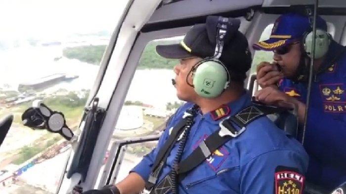 Polairud Bangka Belitung Imbau Warga Pakai Masker Lewat Helikopter