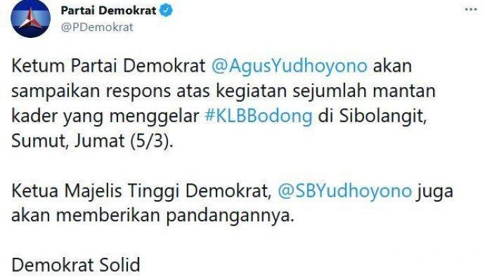 Inilah Tindakan yang Segera Akan Dilakukan SBY dan AHY Hadapi KLB Partai Demokrat - Cutian akun Twitter resmi Partai Demokrat, @PDemokrat, Jumat (5/3/2021).