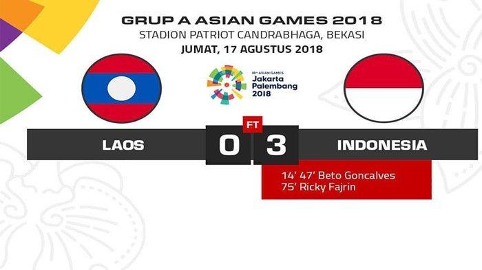 Hasil Pertandingan Asian Games 2018: Indonesia vs Laos, Timnas Garuda Raih Poin Penuh
