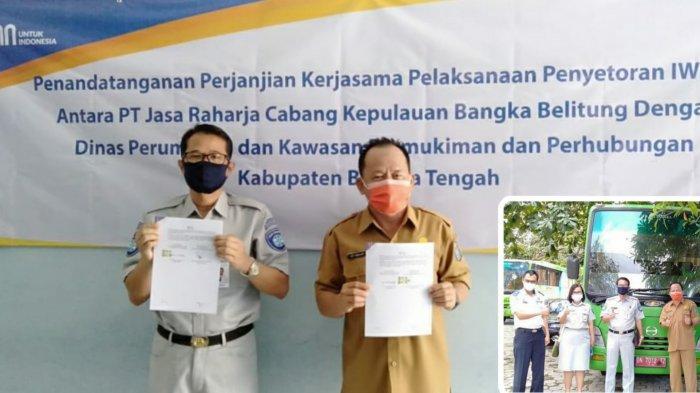 Jasa Raharja Tandatangani Kerja Sama Penyetoran IWKBU dengan Diperkimhub Kabupaten Bangka Tengah