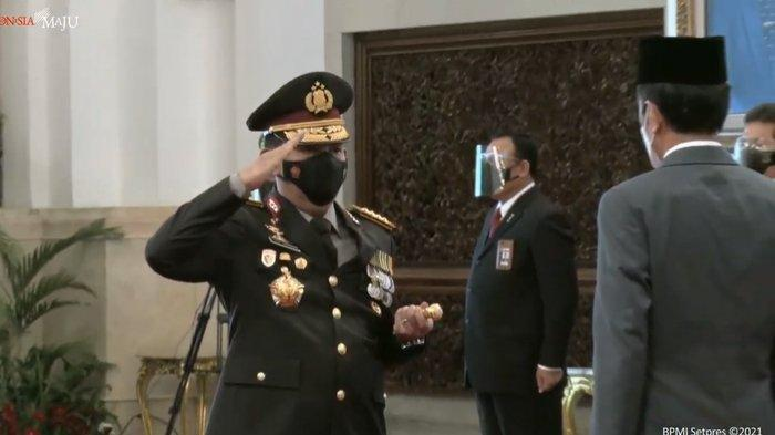 Jenderal Listyo Sigit Prabowo saat dilantik sebagai Kapolri oleh Presiden RI Joko Widodo di Istana Negara, Rabu (27/1/2021).