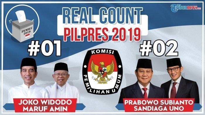 Terbaru Real Count KPU Pilpres 2019, Selasa (7/5) Jam 01.45 WIB, Persentase Suara Prabowo Turun