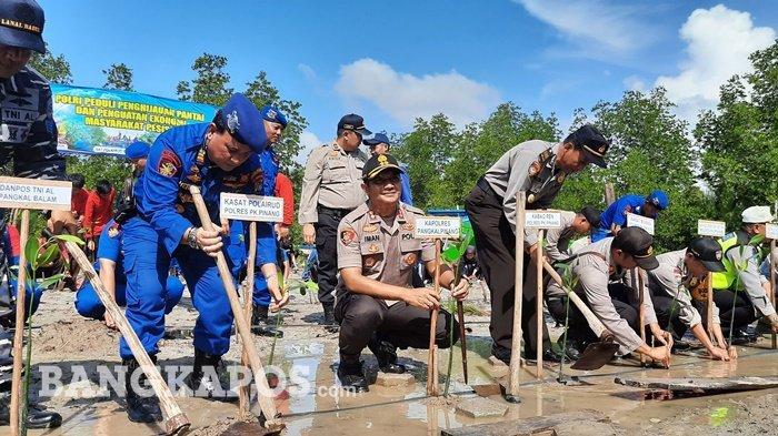 Polres Tanam 1000 Pohon Mangrove, Hijaukan Pantai dan Perkuat Ekonomi Masyarakat Pesisir