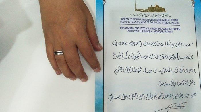 Inilah Tulisan Tangan Raja Salman Tentang Pesan dan Kesannya Usai Kunjungi Masjid Istiqlal