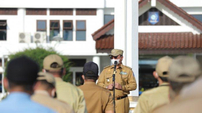 Awal Masuk Kerja, Gubernur Pimpin Apel Mingguan, Ajak ASN Jadi Contoh Terapkan Prokes Covid-19