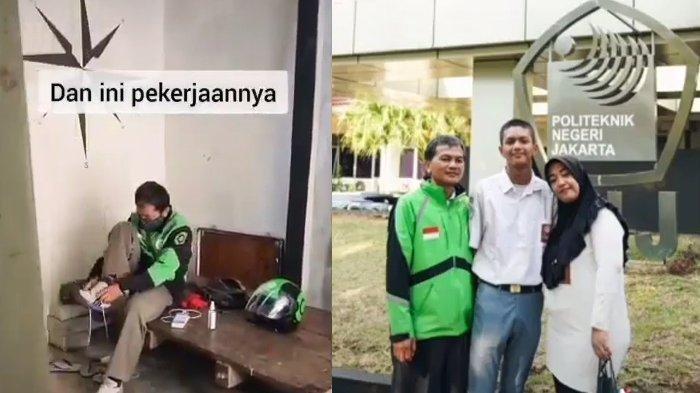 Kolase TribunStyle TikTok @dzikru.rahman (Anak pengemudi ojek yang lolus beasiswa di tempat ayahnya kerja foto barang ibu dan ayahnya)