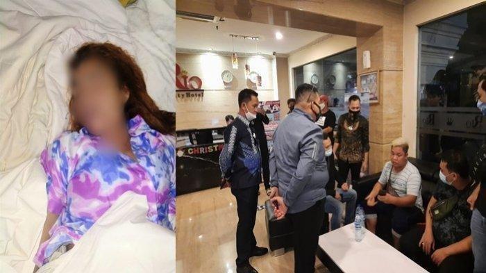 Korban Yuliana dan anggota Polrestabes Palembang saat menanyai saksi di lokasi TKP