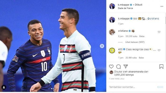 Kylian Mbappe Bertemu Cristiano Ronaldo yang Jadi Idolanya Sejak Kecil, CR7 Balas dengan Kepalan
