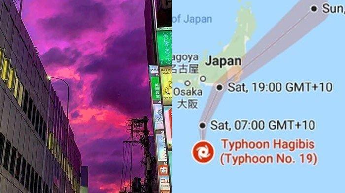 Langit Berwarna Pink Mempesona di Jepang, Ternyata Jadi Penanda Badai Besar.Topan Hagibis