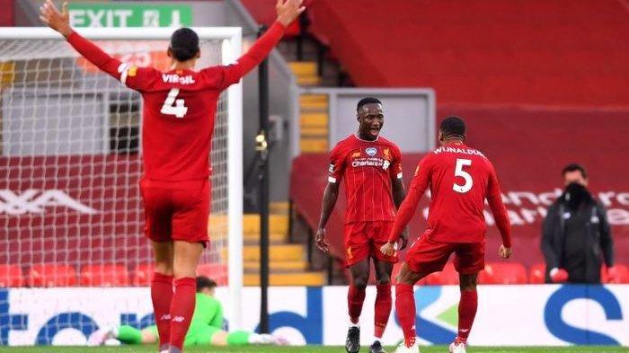 Naby Keita merayakan gol ke gawang Chelsea pada laga pekan ke-37 Liga Inggris 2019-2020, Kamis (23/7/2020) dini hari.