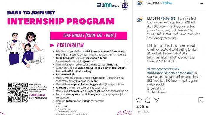 Lowongan Magang di BUMN, PT Biro Klasifikasi Indonesia Buka Kesempatan untuk Fresh Graduate
