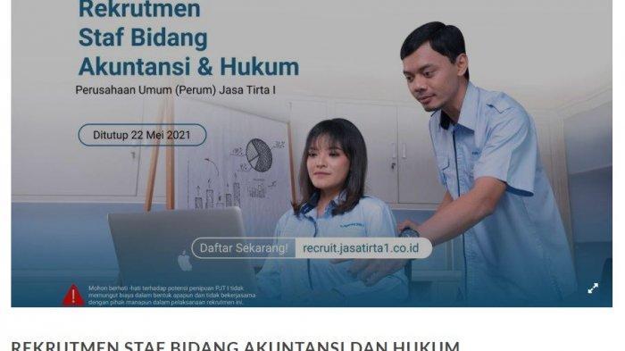 Perusahaan Umum (Perum) Jasa Tirta I Buka Lowongan Kerja Bagi Lulusan Hukum dan Akuntansi
