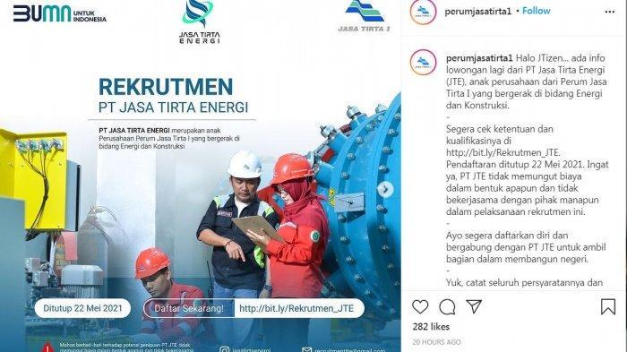 Lowongan Kerja Terbaru, PT Jasal Tirta Energi (JTE) Buka 10 Formasi Sampai 22 Mei 2021